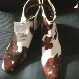 Zara Leather Animal Print Heeled Ankle Boots